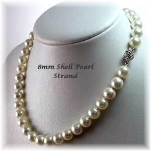 8mm One Strand Shell Pearl Necklace